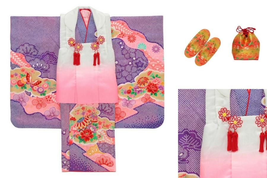 七五三撮影プランでレンタルできる紫の着物(3歳用)