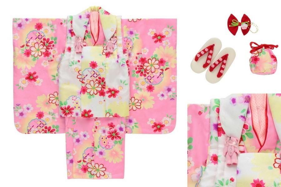 七五三撮影プランでレンタルできるピンクの着物(3歳女の子用)