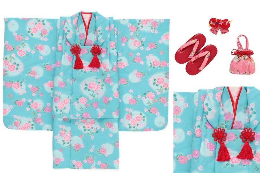 七五三撮影プランでレンタルできる水色の着物(3歳女の子用)