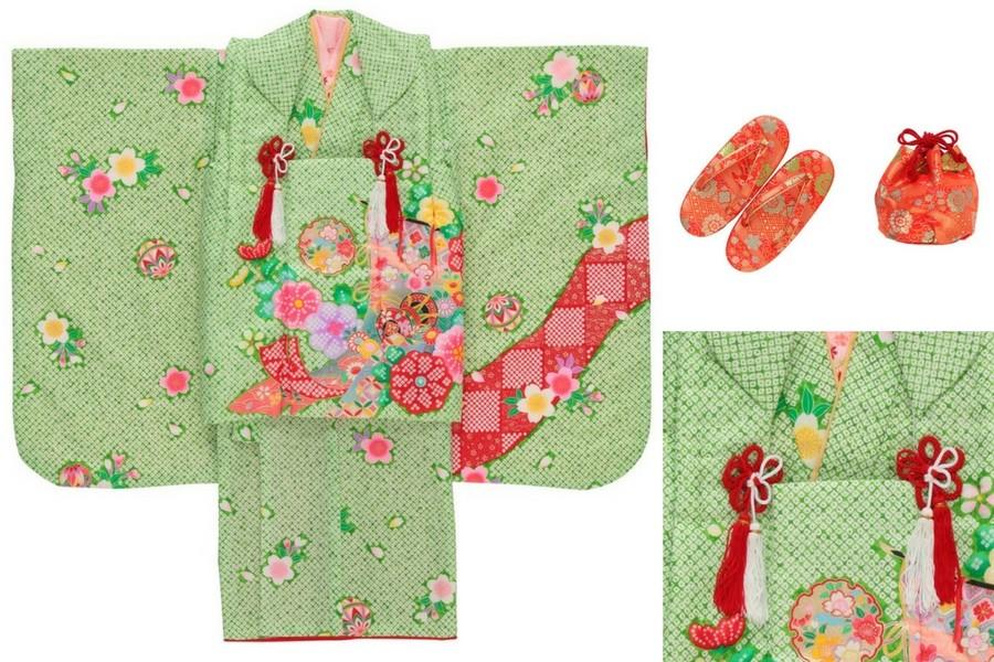七五三撮影プランでレンタルできる黄緑の着物(3歳女の子用)