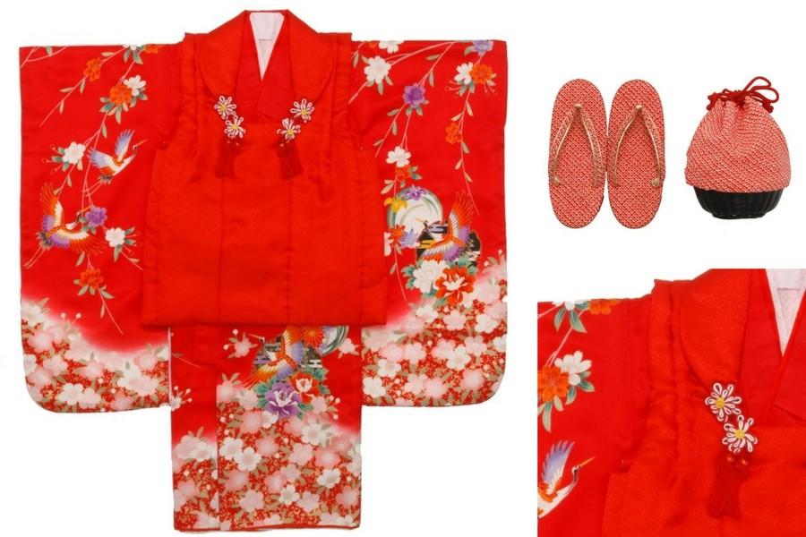 七五三撮影プランでレンタルできる赤い着物(3歳女の子用)