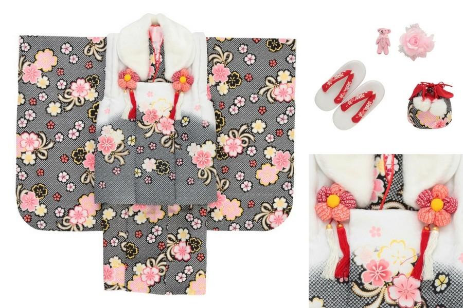 七五三撮影プランでレンタルできるグレーの着物(3歳女の子用)