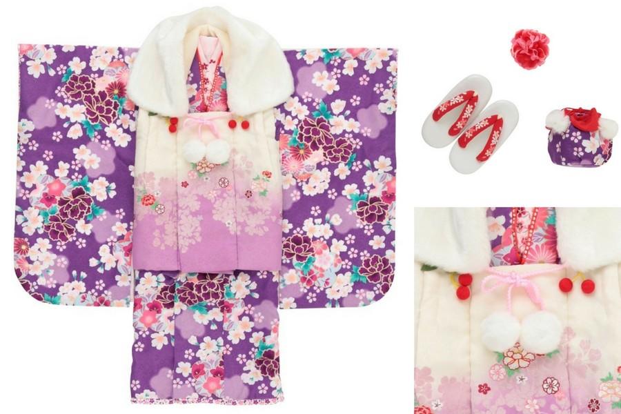 七五三撮影プランでレンタルできる紫の着物(3歳女の子用)
