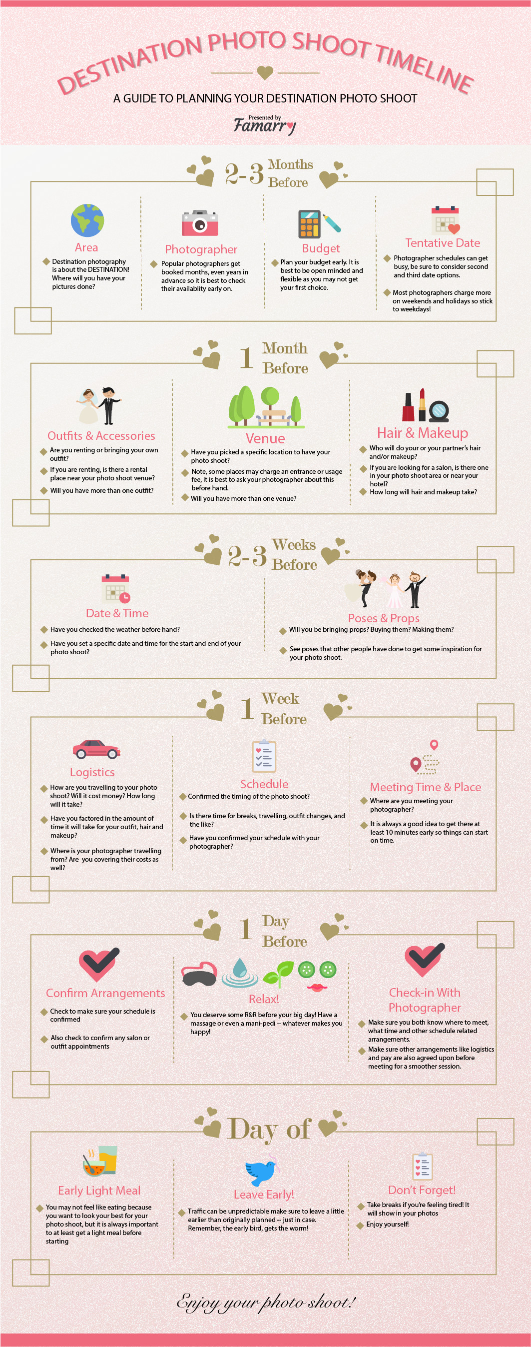 Schedule Plan Pre Wedding Destination Photo Shoot Infographic