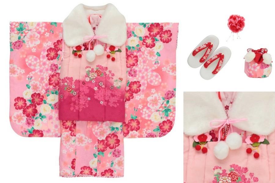 七五三撮影プランでレンタルできるピンクの着物(3歳用)
