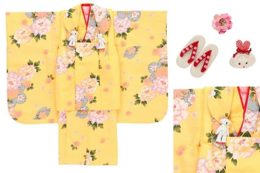 七五三撮影プランでレンタルできる黄色の着物(3歳用)